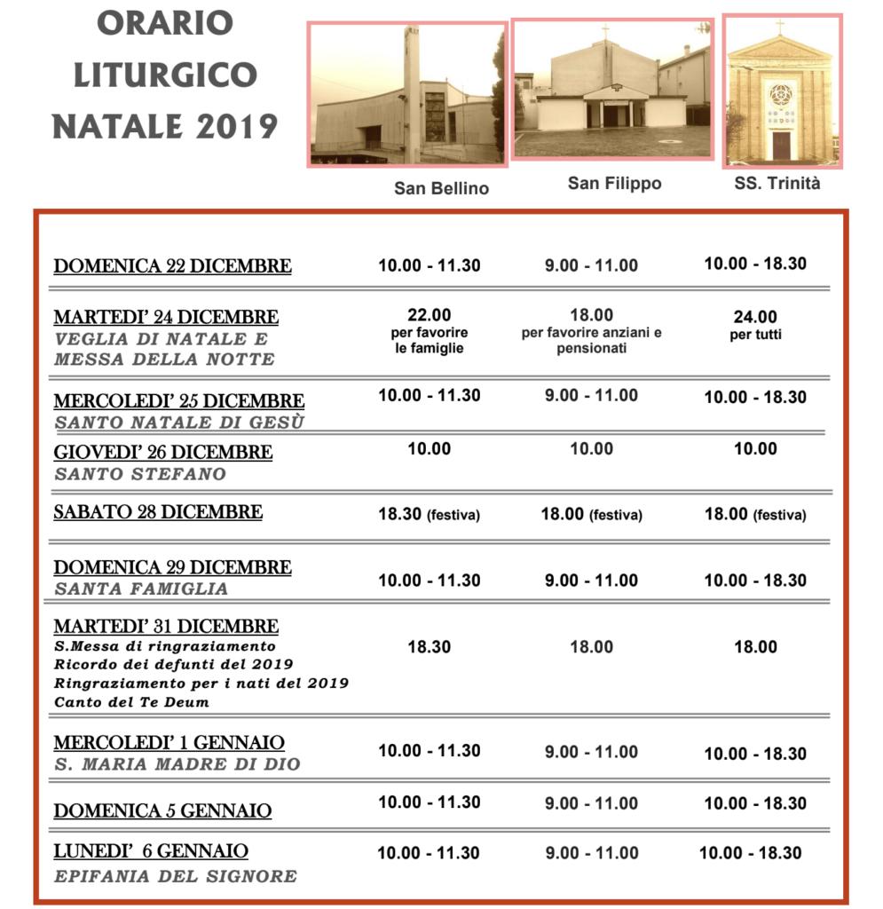 ORARIO LITURGICO NATALE